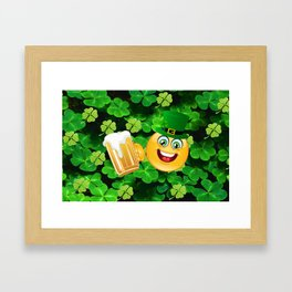 St. Patrick Day Emoticon Framed Art Print