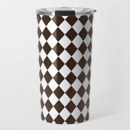 Cocoa Brown Modern Diamond Pattern Travel Mug