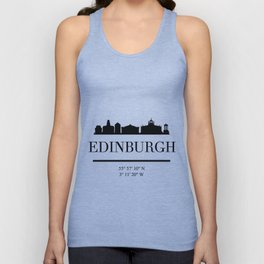 EDINBURGH SCOTLAND BLACK SILHOUETTE SKYLINE ART Unisex Tank Top