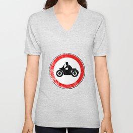 Motorcycle Round Traffic Sign Grunge Unisex V-Neck