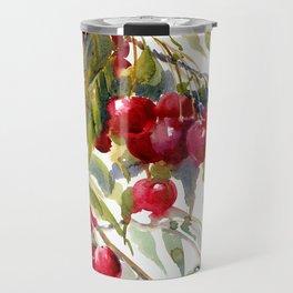 Cherries on Tree, cheery kitchen artwork fruits, fruit art Travel Mug
