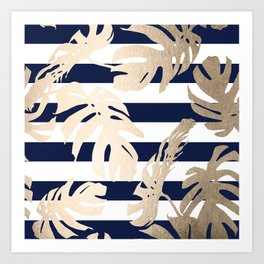 Simply Tropical Palm Leaves on Navy Stripes Art Print