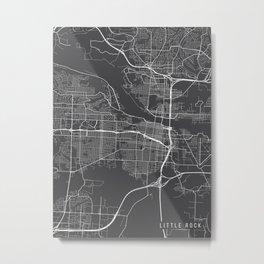 Little Rock Map, Arkansas USA - Charcoal Portrait Metal Print