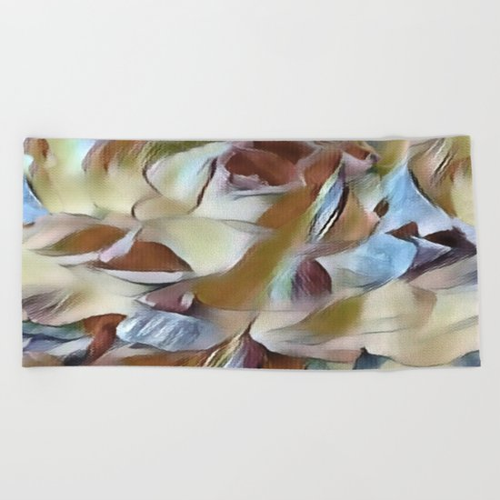 Heavenly Rose Petals Abstract - Taupe Beach Towel