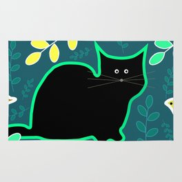 Curious cat and monstera leaves Rug