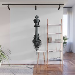 Farewell to the King / 3D render of chess king breaking apart Wall Mural