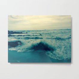 Waves crashing against rocks | Beach Metal Print