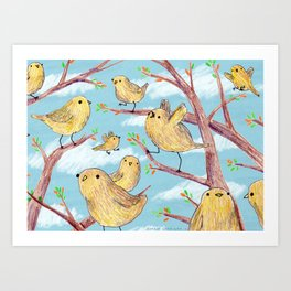 Yellow Birds in a Tree Art Print