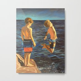 Boys jumping into the sea Metal Print