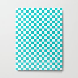Small Checkered - White and Cyan Metal Print