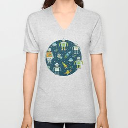 Robots in Space - Blue + Green Unisex V-Neck