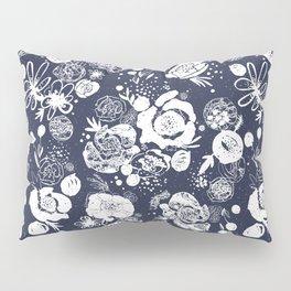 Summer Garden Indigo Floral Pattern Pillow Sham