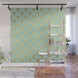 Art Deco Mermaid Scales Pattern on aqua turquoise with Gold foil effect Wall Mural