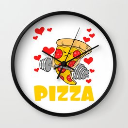 """I Do It For The Pizza"" Gym Snacks Food Shirt For Snack Lovers Pepperoni Mushroom Meatballs Cheese Wall Clock"
