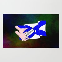 scotland Area & Throw Rugs featuring Rugby Scotland Flag by mailboxdisco