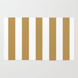 Maple syrup brown - solid color - white vertical lines pattern Rug