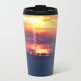 Orange Sunset on the beach Travel Mug
