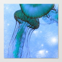Blue Glow Jelly Fish Canvas Print