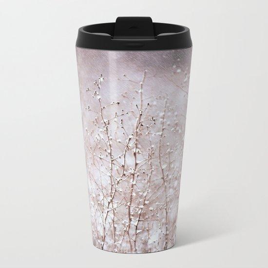 Snowy branches in the rain Metal Travel Mug