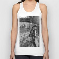 bicycles Tank Tops featuring bicycles near the canal by habish