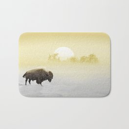 Bison in the snow Bath Mat
