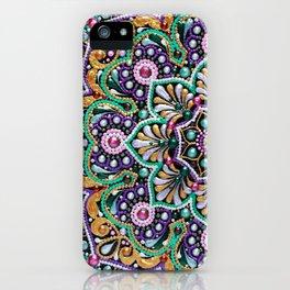 Purple, mint, gold flower boho mandala iPhone Case