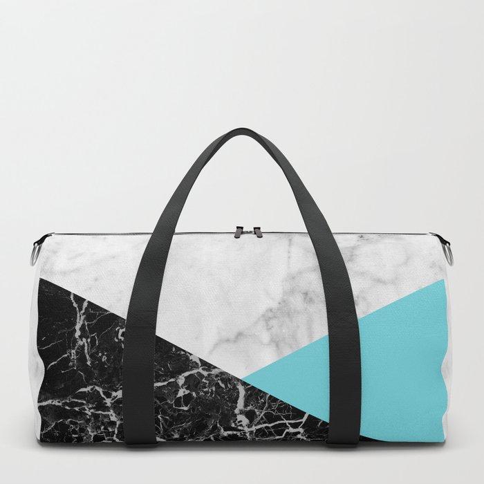 White Marble - Black Granite & Teal #871 Duffle Bag