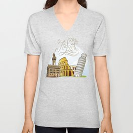 Italy with significant buildings Unisex V-Neck