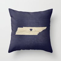 tennessee Throw Pillows featuring Nashville, Tennessee by Fercute