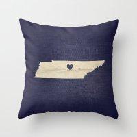 nashville Throw Pillows featuring Nashville, Tennessee by Fercute