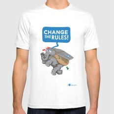 CHANGE The RULES Mens Fitted Tee MEDIUM White