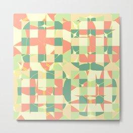 Checkered green and salmon Metal Print