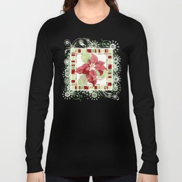 Modern Striped Poinsettia Christmas Floral Holiday Winter Long Sleeve T-shirt