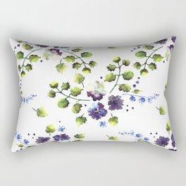 Watercolor decorative blue flowers heart Rectangular Pillow