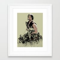 daryl Framed Art Prints featuring Daryl Dixon by Huebucket