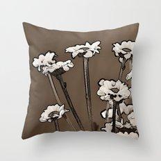 Coffee Daisies Throw Pillow