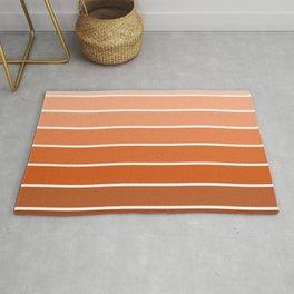 70s Stripe - ombre sunset, sun, sunset, boho, desert, rust, orange, brown, sand, terracotta Rug