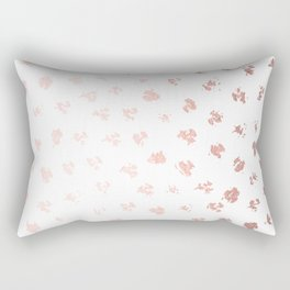 Rose Gold Pink Polka Splotch Dots on White Rectangular Pillow