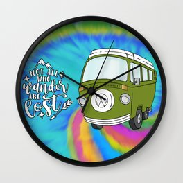 Camper Bus Not All Who Wander Are Lost Wall Clock