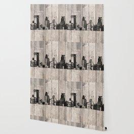 Minneapolis, Minnesota Skyline on Wood Wallpaper