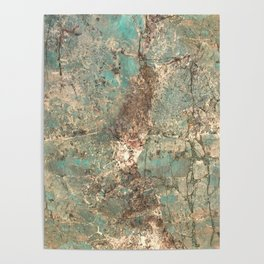 Turquoise and Fawn Brown Marble Poster