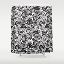 Hellebore lineart florals Shower Curtain