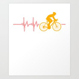 Cycling Heartbeat Bicycle Cylist Bicycling Exercise Workout Gift Art Print