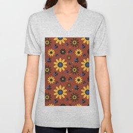 Retro Fall 60's Sunflower Floral in Brown Unisex V-Neck