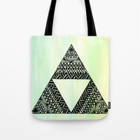triforce Tote Bags featuring Triforce by Leonnie's Art