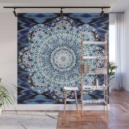 Blue Ikat Mandala Wall Mural