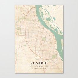 Rosario, Argentina - Vintage Map Canvas Print