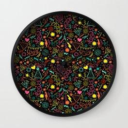 Fun party doodle Wall Clock