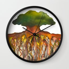 Deep Roots of Mama Tree Wall Clock