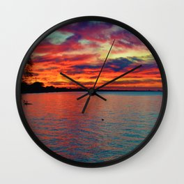 Sunset on Lake St. Clair in Belle River, Ontario, Canada Wall Clock
